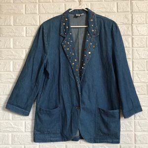 Vintage Dreams studded light denim blazer